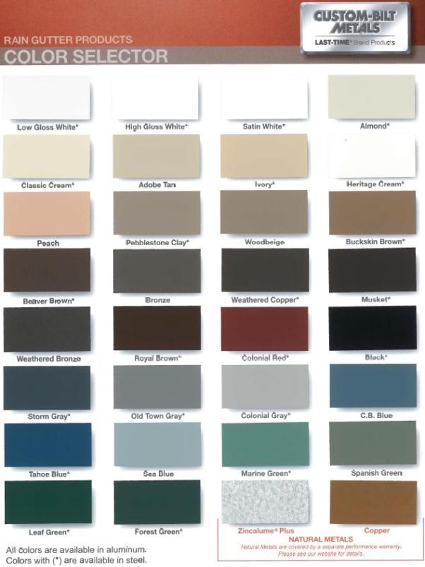 Aluminum Seamless Gutters Prepainted Below Is A Color Chart